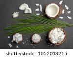 composition with fresh coconut... | Shutterstock . vector #1052013215