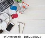 top view online shopping... | Shutterstock . vector #1052035028