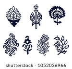 set of 7 wood block print... | Shutterstock .eps vector #1052036966