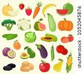vector set of vegetables ... | Shutterstock .eps vector #1052045876