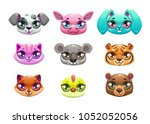 little cute cartoon animal... | Shutterstock .eps vector #1052052056