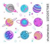 cute decorative fantasy planet... | Shutterstock .eps vector #1052057585