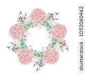 pink hydrangea flower wreath ... | Shutterstock .eps vector #1052060462