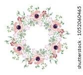 pink anemones flowers wreath ...   Shutterstock .eps vector #1052060465