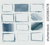 set of empty hand drawn frames... | Shutterstock .eps vector #1052083178