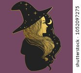 pretty witch in hat. vector... | Shutterstock .eps vector #1052097275