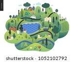 magical summer landscape  ... | Shutterstock .eps vector #1052102792