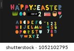 kids flat alphabet set   happy... | Shutterstock .eps vector #1052102795