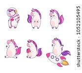 set of funny cartoon magic... | Shutterstock .eps vector #1052105495