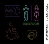 wc neon set with male fimale... | Shutterstock .eps vector #1052109662