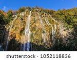 lower view of waterfalls in... | Shutterstock . vector #1052118836