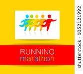 marathon logo. running people.... | Shutterstock .eps vector #1052121992