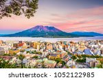 kagoshima  japan skyline with... | Shutterstock . vector #1052122985