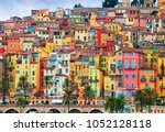 colorful houses in old part of... | Shutterstock . vector #1052128118