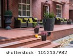 terrace in park hotel and... | Shutterstock . vector #1052137982