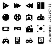 solid vector icon set   play... | Shutterstock .eps vector #1052147486