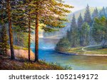 landscape  forest with pine and ... | Shutterstock . vector #1052149172
