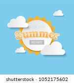 vector summer sale banner... | Shutterstock .eps vector #1052175602