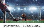 soccer game moment  on... | Shutterstock . vector #1052176052