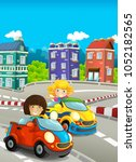 cartoon funny and happy looking ... | Shutterstock . vector #1052182565