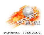 volleyball text on an abstract... | Shutterstock . vector #1052190272
