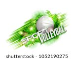volleyball text on an abstract... | Shutterstock . vector #1052190275