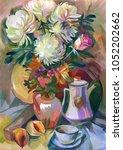 still life a bouquet of flowers.... | Shutterstock . vector #1052202662