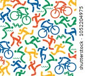 triathlon fitness icons... | Shutterstock .eps vector #1052204975