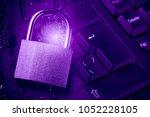padlock on computer motherboard ...   Shutterstock . vector #1052228105