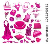 fashion things on white... | Shutterstock . vector #1052240582
