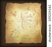 treasure map on wooden... | Shutterstock .eps vector #105224162