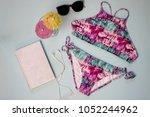 top view summer vacation beach... | Shutterstock . vector #1052244962