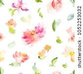 cute hand painted flowers... | Shutterstock . vector #1052253032