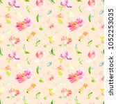 cute hand painted flowers... | Shutterstock . vector #1052253035