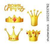 set of golden royal crowns in... | Shutterstock .eps vector #1052253782