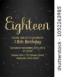eighteen invitation card. 18th... | Shutterstock .eps vector #1052263985