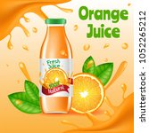 natural orange juice ads poster ... | Shutterstock .eps vector #1052265212
