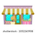 flower shop isolated on white... | Shutterstock .eps vector #1052265908