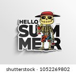 hello summer text  skeleton...