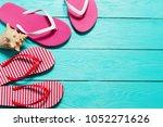 summer flip flops with shell...   Shutterstock . vector #1052271626