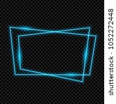 blue neon frame  isolated ... | Shutterstock .eps vector #1052272448