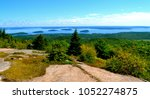 Scenic panoramic views from the north ridge trail hiking Cadillac Mountain in Maine