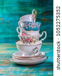 Stack Of Vintage Tea Cups On...