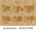 a set of six different types of ... | Shutterstock .eps vector #1052275385