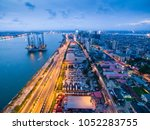 dusk view of the lagos island... | Shutterstock . vector #1052283755