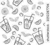 mojito hand draw seamless... | Shutterstock .eps vector #1052287706