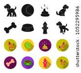 a bone  a fire hydrant  a bowl... | Shutterstock .eps vector #1052295986