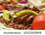 turkish doner kebab | Shutterstock . vector #1052305898