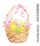 easter card with basket  eggs... | Shutterstock . vector #1052308088