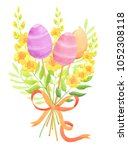 easter bouquet with eggs ... | Shutterstock . vector #1052308118